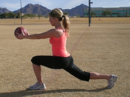 walking lunge with med ball extended