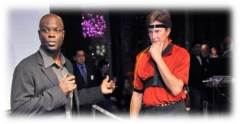 Host Zig Ziegler prepares to analyze the golf swing of Oluympic Gold Medalist and Reality TV Star Bruce Jenner.